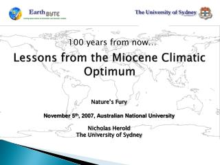 Lessons from the Miocene Climatic Optimum