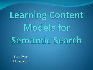 Learning Content Models for Semantic Search