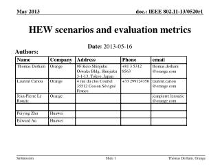 HEW scenarios and evaluation metrics