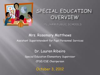 Special  Education            Overview PelHAM  PUBLIC SCHOOLS