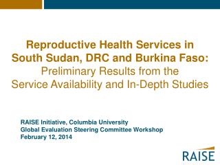 RAISE Initiative, Columbia University Global Evaluation Steering Committee Workshop