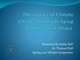 The Impact of Climate Change on Maple Syrup Production in Ithaca