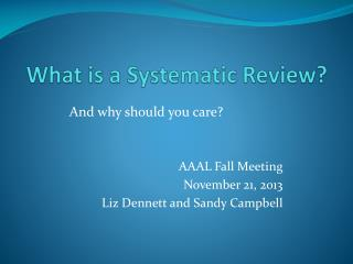 What is a Systematic Review?