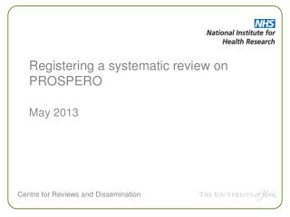 Registering a systematic review on  PROSPERO