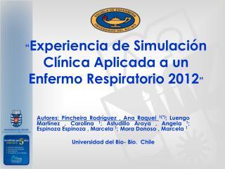 """"""" Experiencia de Simulación Clínica Aplicada a un Enfermo Respiratorio 2012 """""""