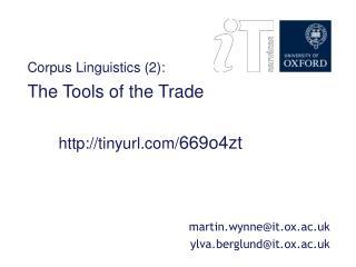 Corpus Linguistics: session 2