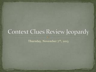 Context Clues Review Jeopardy