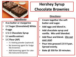 Hershey Syrup Chocolate Brownies