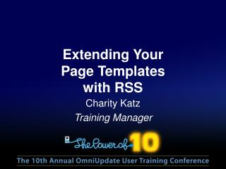 Extending  Your  Page  Templates with RSS