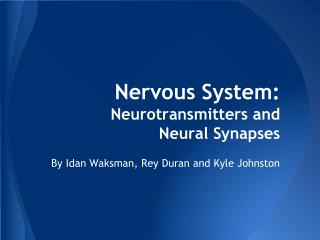 Nervous System: Neurotransmitters and  Neural Synapses