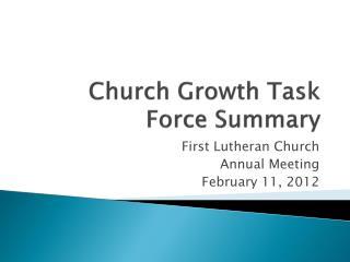 Church Growth Task Force Summary