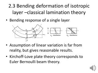 2.3 Bending deformation of isotropic layer –classical lamination theory