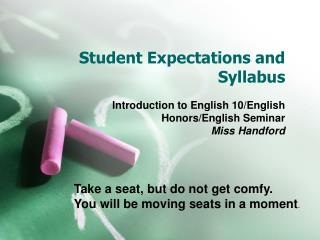 Student Expectations and Syllabus