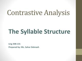 contrastive analysis hypothesis definition pdf