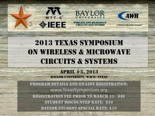 Program details and on-line registration:  TexasSymposium