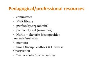 Pedagogical/professional resources