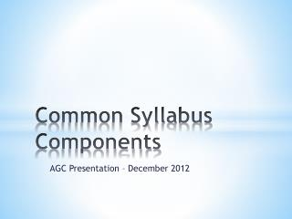 Common Syllabus Components