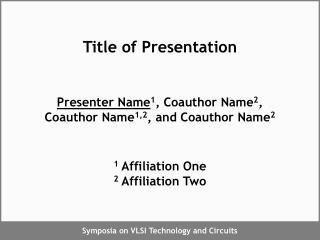 Title of Presentation