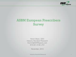 ASBM European Prescribers Survey