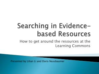 Searching in Evidence-based Resources