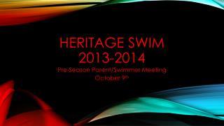 Heritage Swim  2013-2014