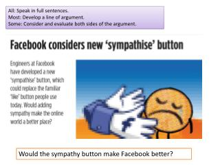 Would the sympathy button make  F acebook  better?