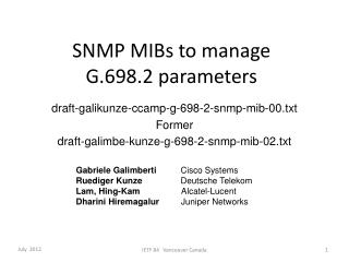 SNMP MIBs to manage  G.698.2 parameters