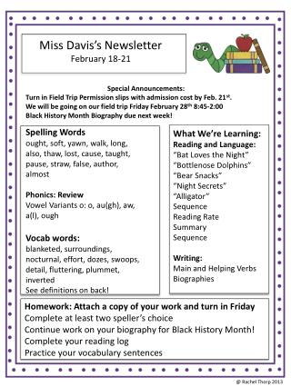 Miss Davis's Newsletter February  18-21