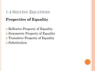 1-4  Solving  Equations