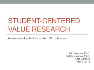 Student-Centered Value Research