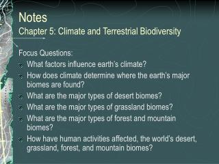 Notes  Chapter 5: Climate and Terrestrial Biodiversity