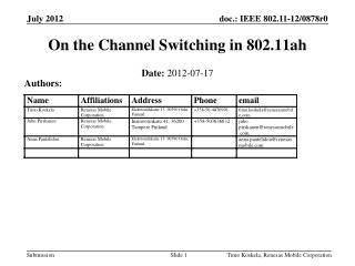 On the Channel Switching in 802.11ah