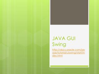 JAVA GUI  Swing