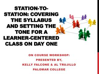 On Course  Workshop: Presented by, Kelly Falcone & Al Trujillo Palomar college