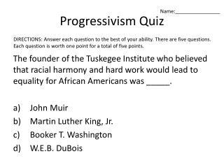 Progressivism Quiz