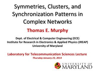 Symmetries, Clusters, and Synchronization Patterns in Complex Networks