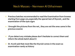 Neck Masses –  Nermeen  Al  Othaimeen