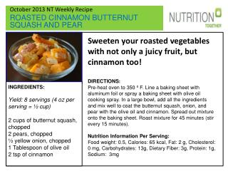 October 2013 NT Weekly Recipe ROASTED CINNAMON BUTTERNUT  SQUASH AND PEAR