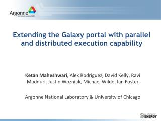 Extending the Galaxy portal with parallel and distributed execution capability