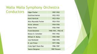 Walla Walla Symphony Orchestra Conductors