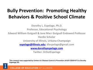 Bully Prevention:  Promoting Healthy Behaviors & Positive School Climate