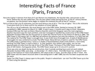Interesting Facts of France (Paris, France)