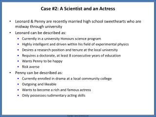 Case #2: A Scientist and an Actress
