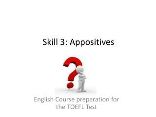 Skill  3:  Appositives