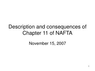 Description and consequences of Chapter 11 of NAFTA