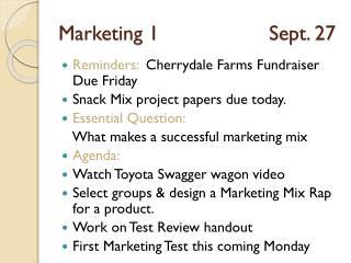 Marketing 1Sept. 27