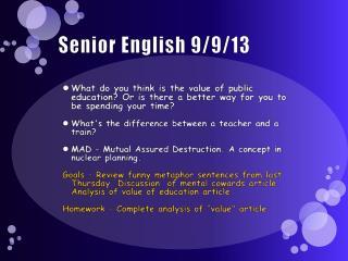 Senior English 9/9/13