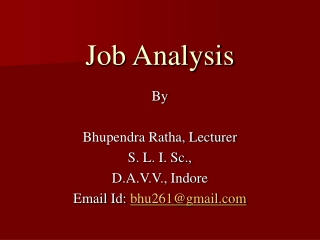Topic 3: Job Analysis