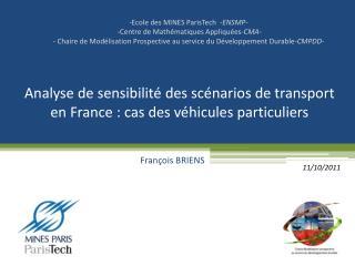 Analyse de sensibilité des scénarios de transport en France : cas des véhicules particuliers