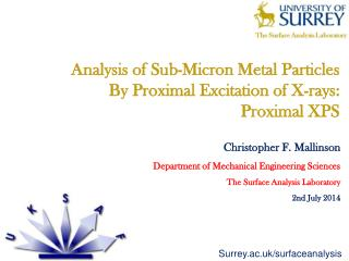 Analysis of Sub-Micron Metal Particles  By Proximal Excitation of X-rays:  Proximal XPS